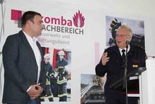 Dr. Andreas Bräutigam (links), Ministerium des Innern und Mitglied im Fachbereich, und Bernd Schneider, stellvertretender Vorsitzender des Verbandes der Feuerwehren NRW