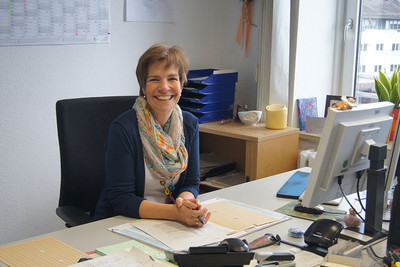 Petra Dorenberg an ihrem Arbeitsplatz in Münster (Foto: © Sandra Dluhosch)